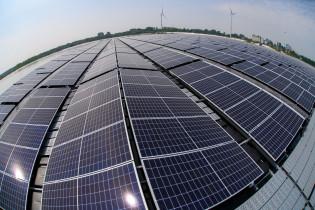 Kuvassa aurinkokennoja rivissä ja taustalla tuulivoimaloita
